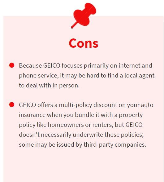 cons of geico