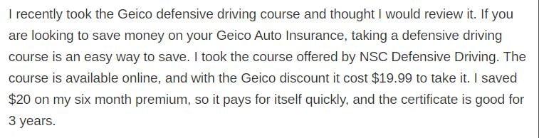 geico defensive review