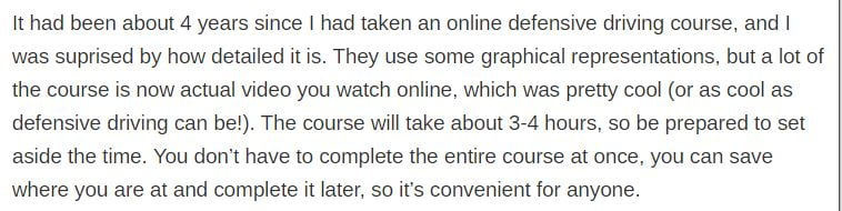 online defensive driving coursereview